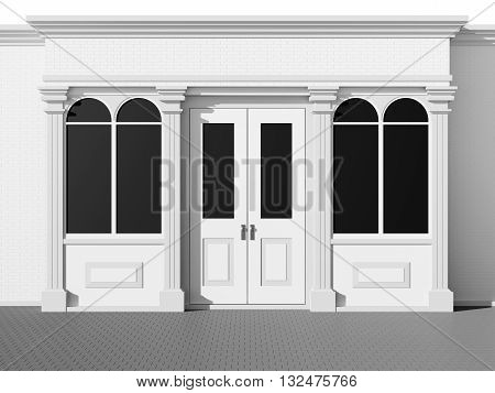 Stylish shopfront - classic store front 3D rendering