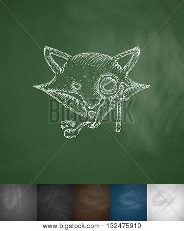 hipster fox icon. Hand drawn vector illustration. Chalkboard Design
