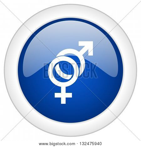 sex icon, circle blue glossy internet button, web and mobile app illustration