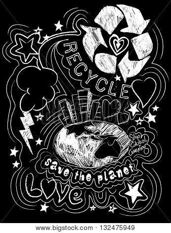 Recycle save the planet black and white illustration .