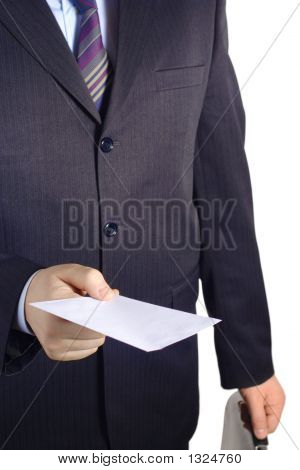 Businessman Handing Over A Blank Letter