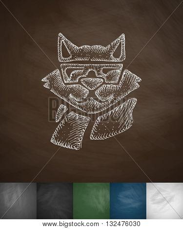 hipster raccoon icon. Hand drawn vector illustration. Chalkboard Design