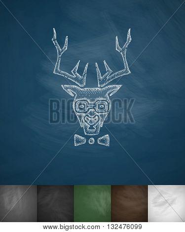 hipster deer icon. Hand drawn vector illustration. Chalkboard Design