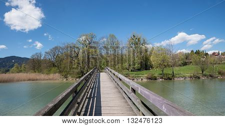 Wooden Bridge Over Mangfall River, Spa Town Gmund At Lake Tegernsee
