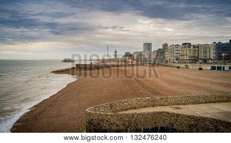 Brighton beach in south England at sunset
