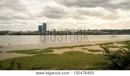 Landscape view of Chatham and the river Medway in Kent England.