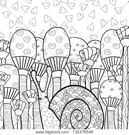 Cute snail in whimsical mushroom forest adult coloring book page. Line art vector illustration.