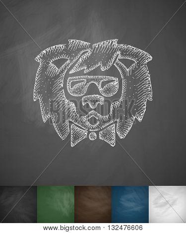 hipster lion icon. Hand drawn vector illustration. Chalkboard Design