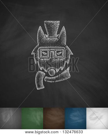 hipster wolf icon. Hand drawn vector illustration. Chalkboard Design