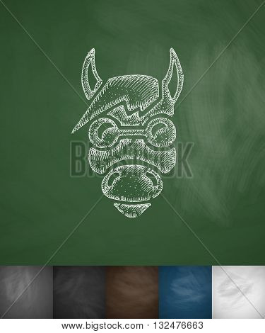 hipster horse icon. Hand drawn vector illustration. Chalkboard Design