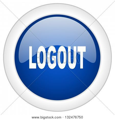 logout icon, circle blue glossy internet button, web and mobile app illustration