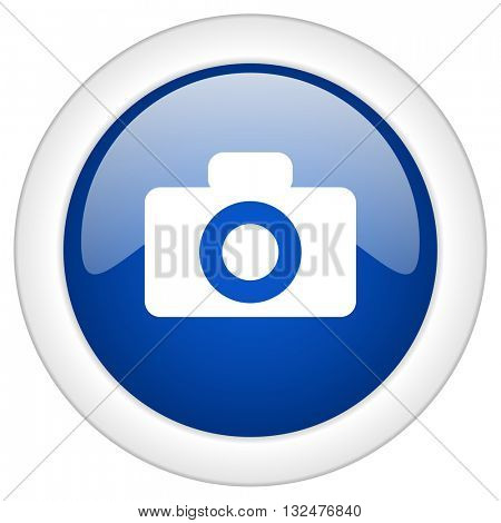 camera icon, circle blue glossy internet button, web and mobile app illustration