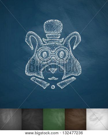 hipster marmot icon. Hand drawn vector illustration. Chalkboard Design