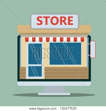 Vector shop or market, illustration background .