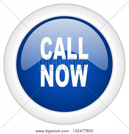 call now icon, circle blue glossy internet button, web and mobile app illustration