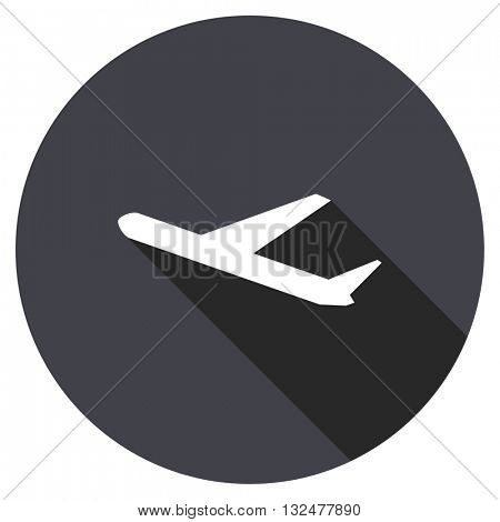 departures vector icon, round flat design button, web and mobile app illustration