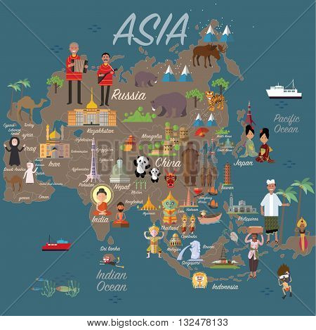 Asia map and travel eps 10 format