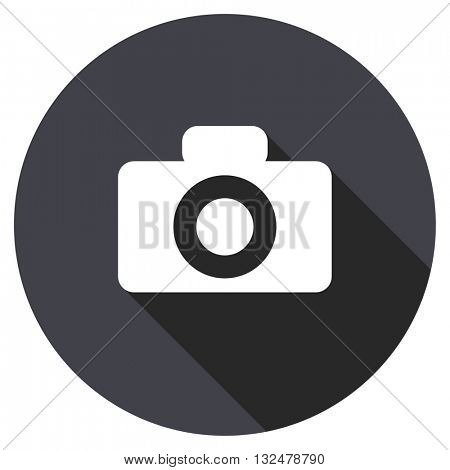 camera vector icon, circle flat design internet button, web and mobile app illustration