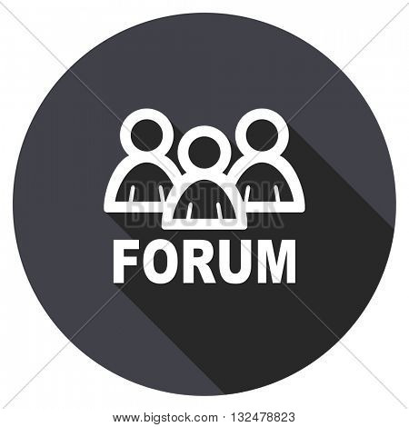 forum vector icon, circle flat design internet button, web and mobile app illustration