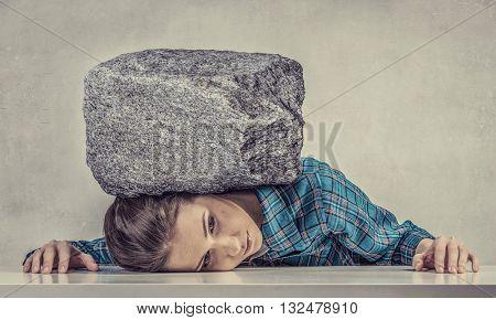 Tired girl under pressure