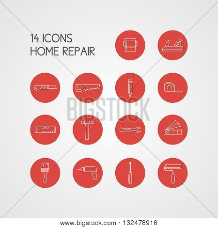 Set of Icons of different tools in the red circles on a white background for house repair. Elements and icons set for cards illustration poster and web design in a flat linear style