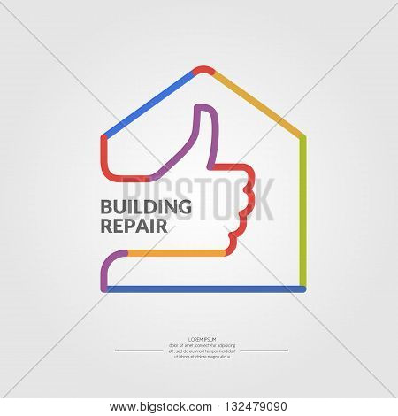 Vector illustration for the repair of the building in a flat linear style. Elements and icons set for cards illustration poster and web design.