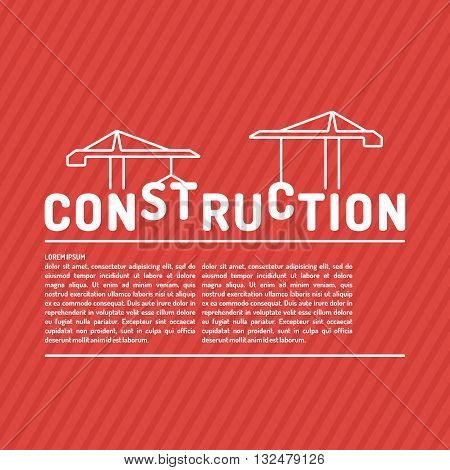 Vector illustration for the construction of a flat linear style on a red background with a field for your text. Elements for cards illustration poster and web design.