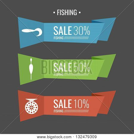 Set of stickers for discounts on Fishing tackle. Vector illustration of Fishing reels hooks and lures in flat cartoon style. Vector elements. Icons and illustration for design site infographics poster advertising.