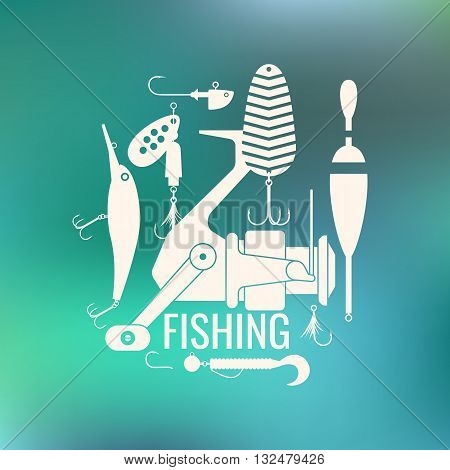 Vector illustration of Fishing reels hooks float fishing line lures bait on blurred green background. Vector elements Icons and illustration for design site poster and advertising.