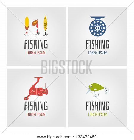Set of vector illustrations of fishing reels hooks float fishing line lures bait on light background.Vector elements icons and illustrations for design of website poster and advertising