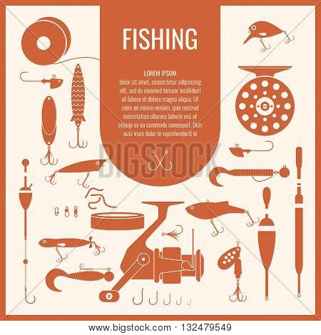 A set of fishing tackle in flat style. Fishing reels hooks floats baits lures. Vector illustration icons and elements for design website infographics posters and advertising on a light background.