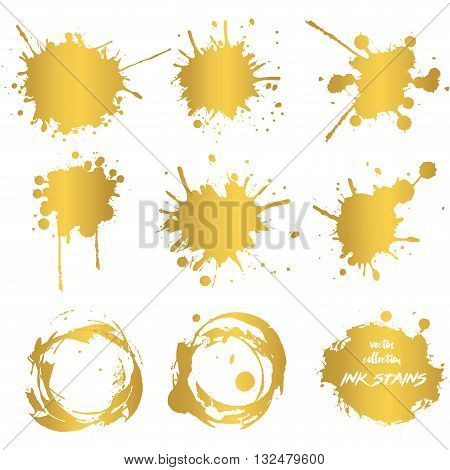 Golden paint stains. Splashes. Vector. Golden Paint Splats