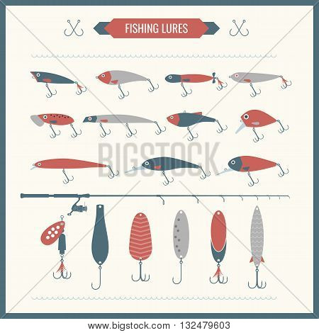 Set of vector Fishing equipment in flat style. Fishing rods fishing reels hooks. Icons and illustration for design site infographics poster advertising.