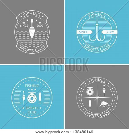 Set of vector illustrations of fishing reels hooks float fishing line lures bait on blue and grey background.Vector elements icons and illustrations for design of website poster and advertising