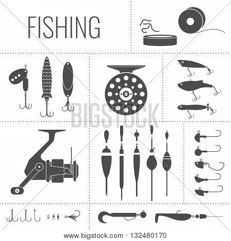 A set of Fishing tackle in the flat monochrome style.Fishing reel hooks float fishing line lures. Vector elements.Icons and illustration for design website infographics posters and advertising.