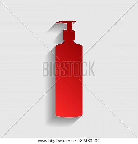 Gel, Foam Or Liquid Soap. Dispenser Pump Plastic Bottle silhouette. Red paper style icon with shadow on gray.