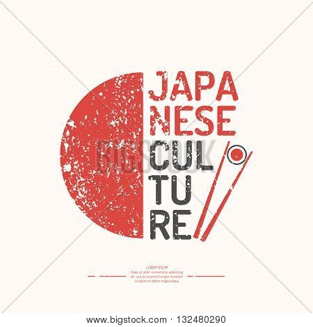A poster with the text of the Japanese culture. The symbol of Japan - chopsticks on white background in vintage style. Vector elements and icons for cards illustration poster and web design.