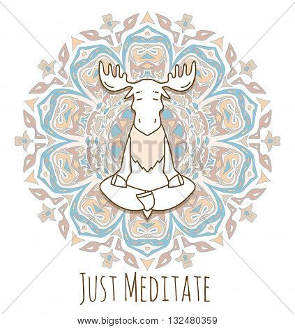 Meditative Animals series. Animal figures seated in the lotus position. Good for design of postcards printed materials for those who are engaged in yoga. All figures are isolated.