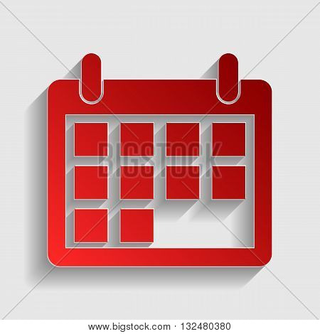 Calendar sign illustration. Red paper style icon with shadow on gray.