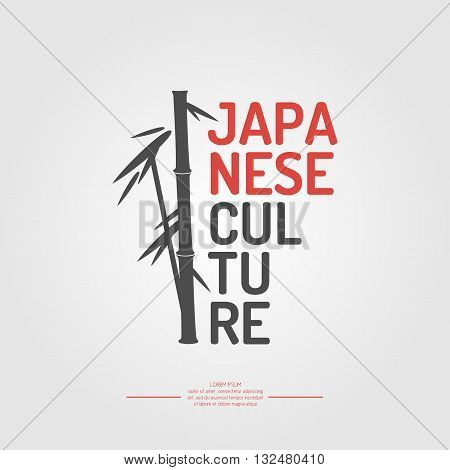 A poster with the text of the Japanese culture. The symbol of Japan - bamboo on white background in flat style. Vector illustration elements and icons for cards illustration poster and web design.