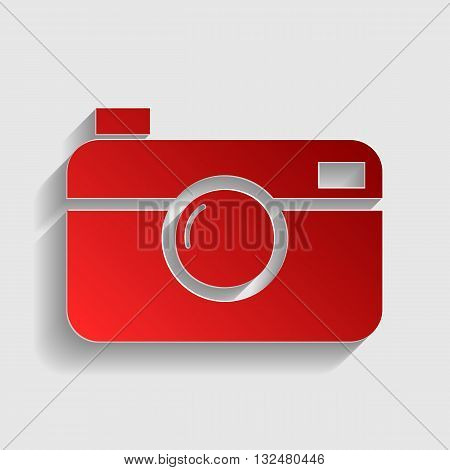 Digital photo camera sign. Red paper style icon with shadow on gray.