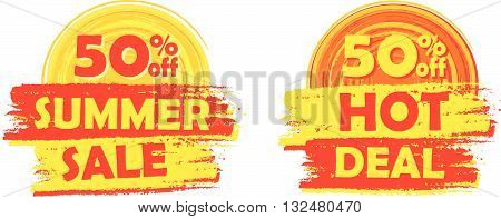 50 percentages off summer sale and hot deal banners - text in yellow and orange drawn labels with sun symbols, business seasonal shopping concept, vector