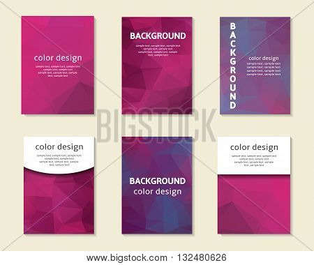 Purple pink polygon cards covers postcards collection. Polygon printable templates set. Triangle pattern business cards. Abstract backgrounds set