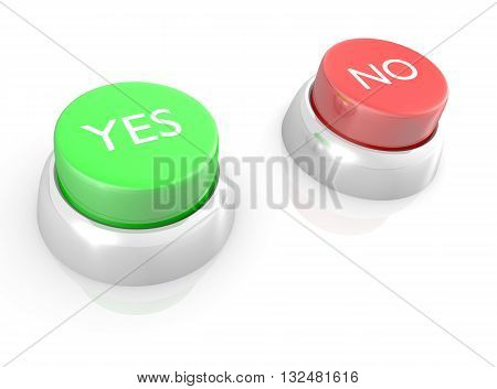 3D abstract rendering of YES and NO buttons.