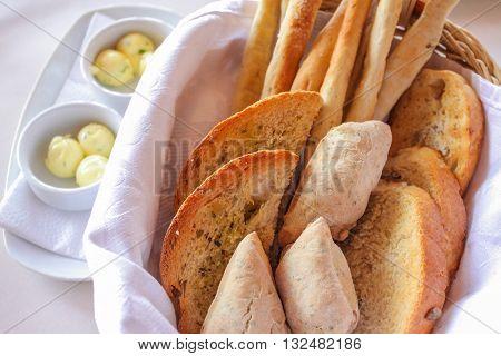 fresh bread serving