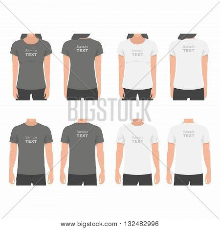 T-shirt Men and women back and front. human body silhouette