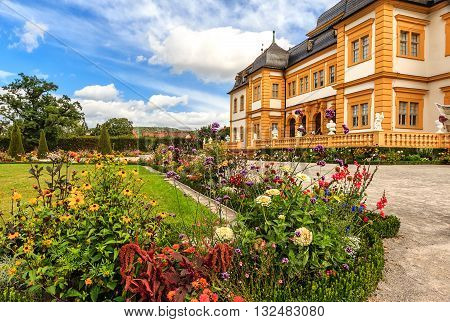 Veitshoechheim Palace near Wuerzburg known of the surrounding Rococo Garden with lakes and waterworks (built 1682), Germany