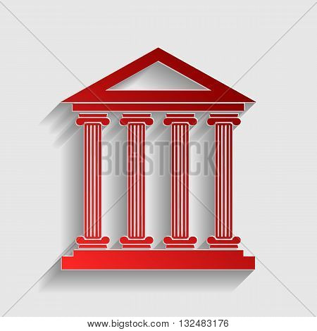 Historical building illustration. Red paper style icon with shadow on gray.