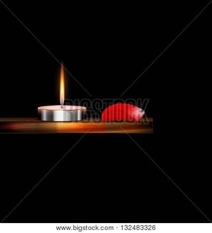 the burning candle on the wooden stand and red petal