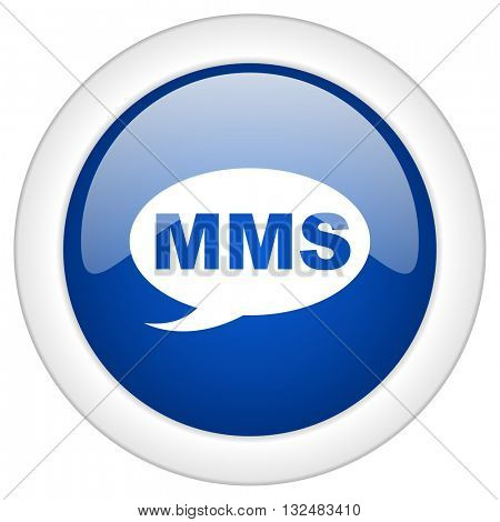 mms icon, circle blue glossy internet button, web and mobile app illustration